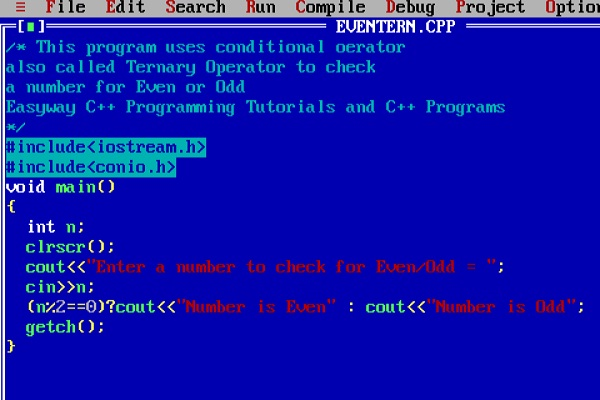 Easyway C++ Program to check a number for even odd using conditional operator or ternary operator