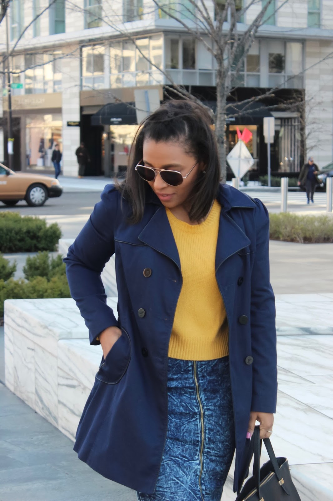structured jacket, otk boots, mustard sweater, how to wear a structured jacket, over the knee boots