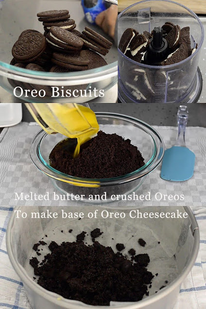 Preparing oreo cheesecake base