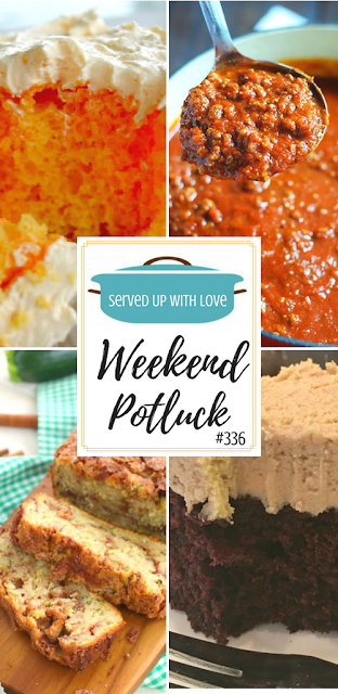 Orange Cream Cake, Kicked Up Spaghetti Sauce Out of a Jar, Cinnamon Swirl Zucchini Bread, and Chocolate Peanut Butter Crazy Cake are featured recipes at Weekend Potluck over at Served Up With Love.
