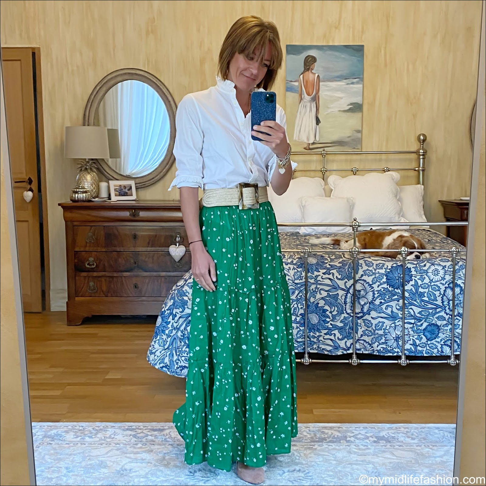 my midlife fashion, Uniqlo high frill collar blouse, zara hessian belt, whistles tiered maxi skirt, H&M nude ballet pumps