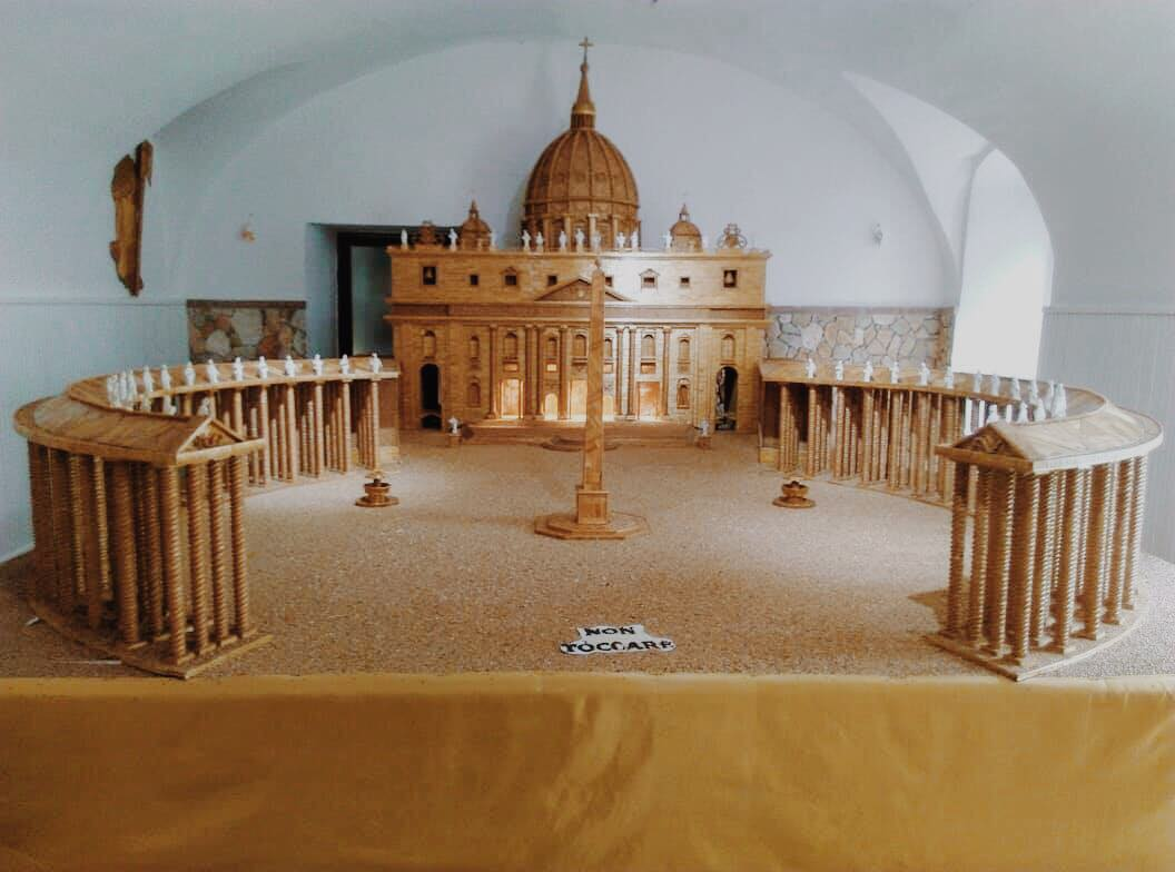 Wheat Art structure for the festival of St Anne