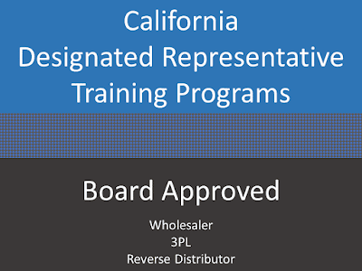Board Approved - California Designated Representative online training programs for wholesalers, 3PL, reverse distributors. Earns a training affidavit accepted by the California State Board of Pharmacy.