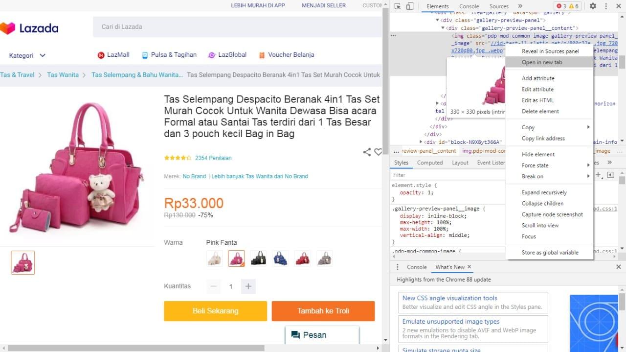 Cara Download Gambar Lazada Melalui PC