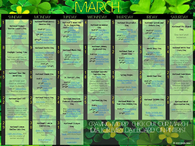 Academic tie-ins to honor holidays for every day in March.