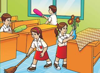 membersihkan kelas dan lingkungan sekolah www.simplenews.me