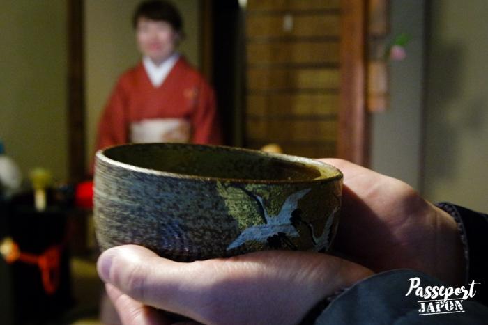 Chawan, cérémonie du thé, jardin Gyokusen-en, Kanazawa