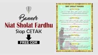 Free Banner Niat Sholat Fardhu Siap Cetak