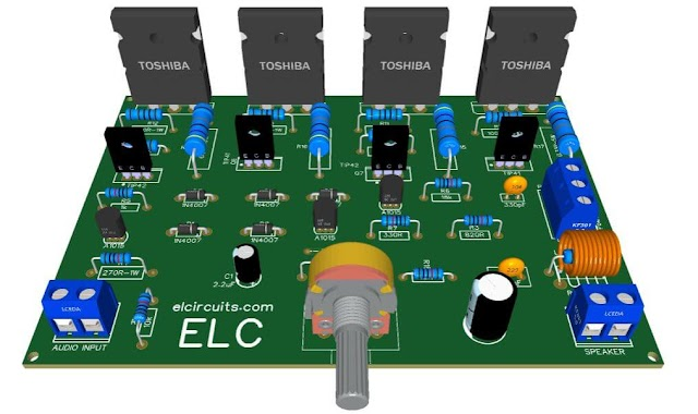 200W RMS Power Amplifier With 2SC2500 AND 2SA1943 + PCB
