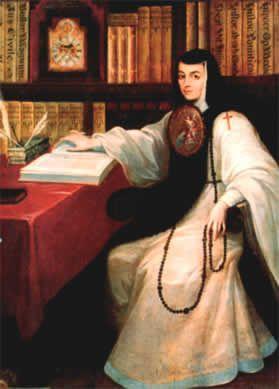 Pintura de Sor Juana sentada con un libro