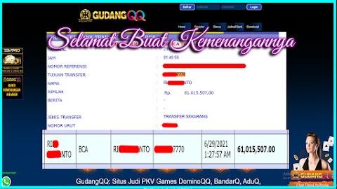 Selamat Kepada Member Setia GudangQQ WD sebesar Rp. 61,015,507.-