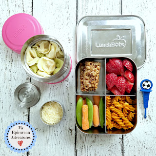 Lunch box fun with tortellini, a tried and true favorite. #lunchboxideas