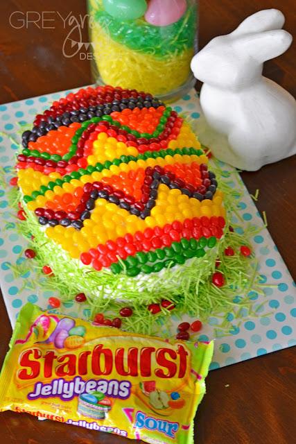 #ad #starburstjellybeans #kroger #easteregg #eastercake #eastereggcake #easter #greygreydesigns