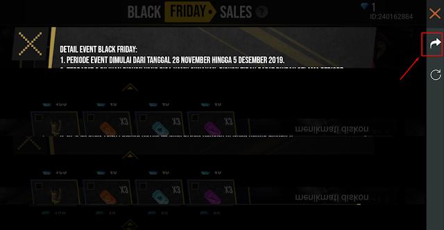 Cara Membuka Event Black Friday FF Melalui Broswer Khusus HP Blank Hitam