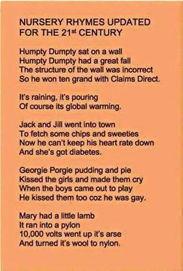 Auld Reekie Rants: Modern Day Nursery Rhymes