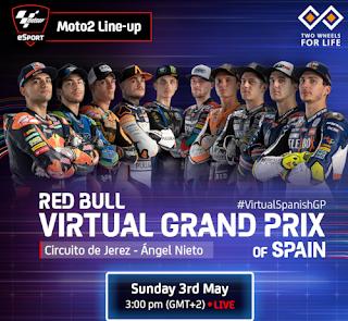 Resultado Carrera Virtual de Moto2 España Jerez 3 mayo 2020