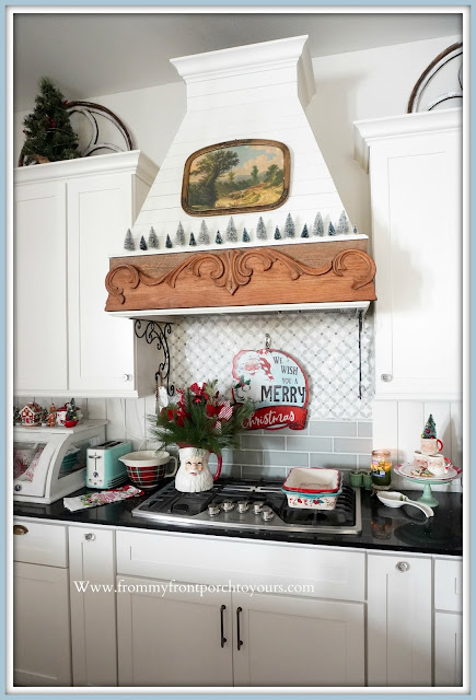 Cottage -Farmhouse -Christmas-Kitchen -Tour-DIY-Shiplap-Range-Hood-Mini-Bottlebrush-Christmas-Trees-From My Front Porch To Yours
