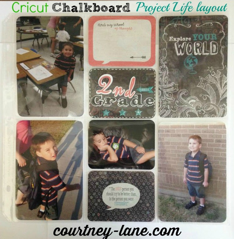 Cricut Chalkboard Fonts Project Life School layout