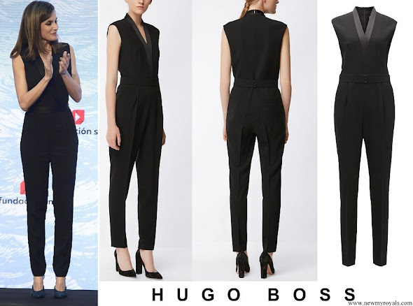 Queen Letizia wore HUGO BOSS V-neck jumpsuit with satin trims