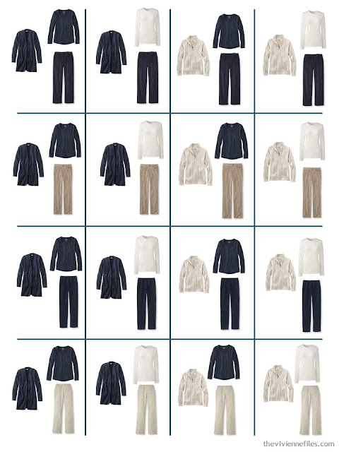 16 possible outfits from 8 garments in navy and beige, for cool weather