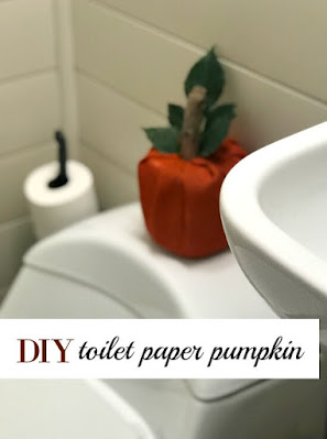 orange burlap pumpkin on toilet pin