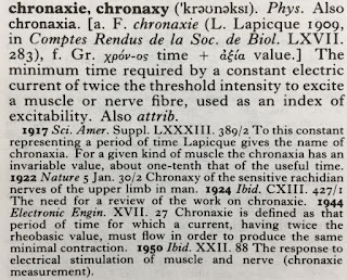 The entry for chronaxie in the Oxford English Dictionary.