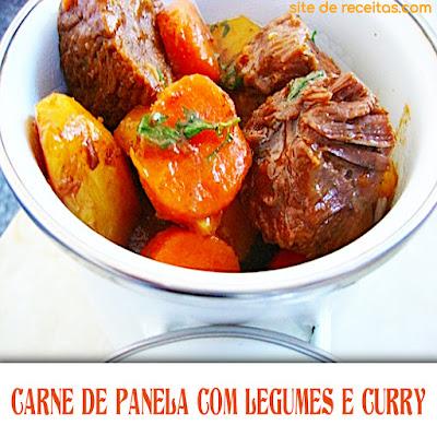 Carne de panela  com legumes e curry title=