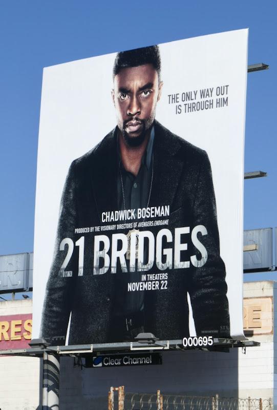 Chadwick Boseman 21 Bridges movie billboard
