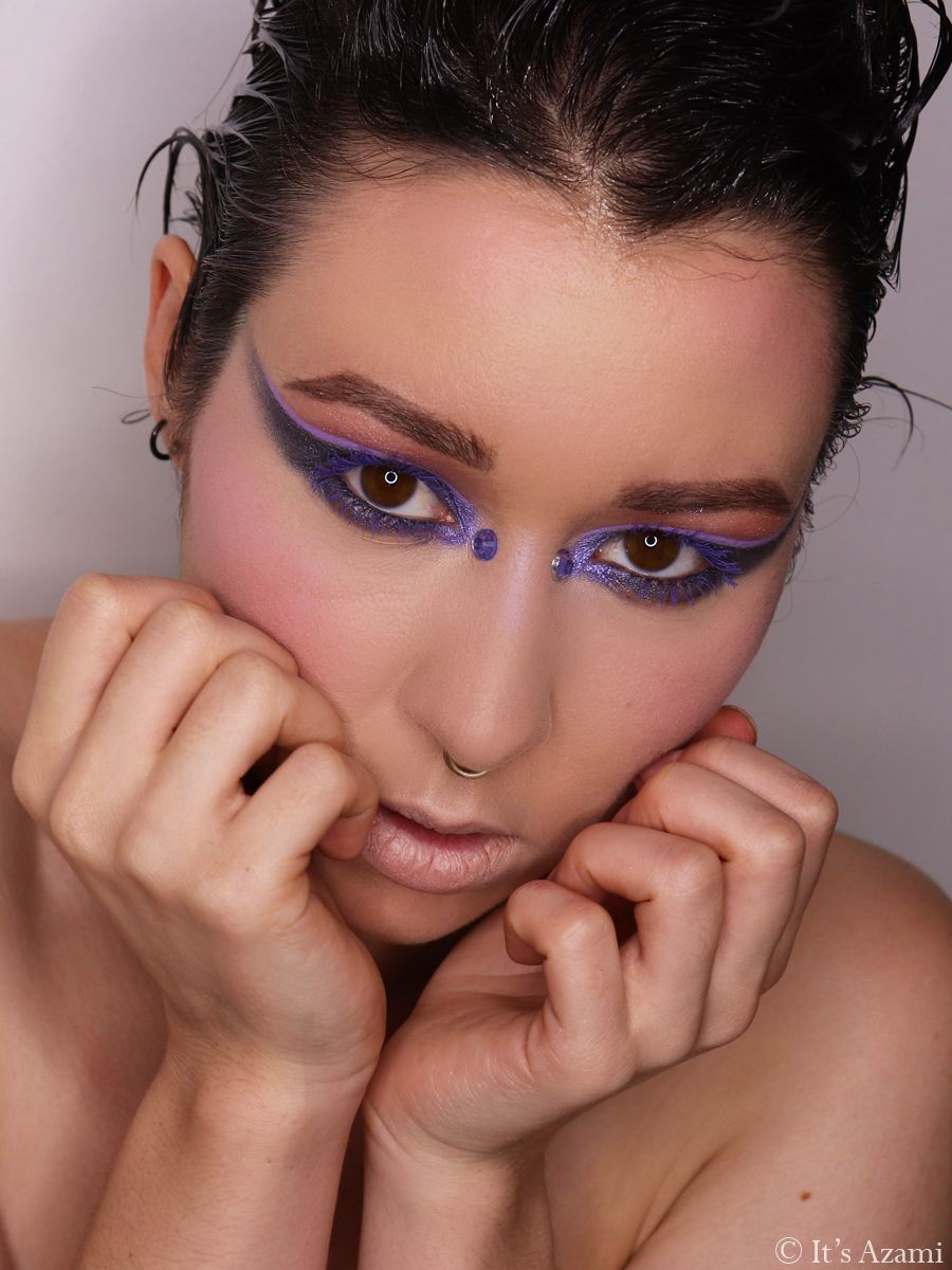 It's Azami - The Strongest Storms Movement Collaboration - Morphe Such A Gem Hot Spot Eyeshadow Palettes - P. Louise Base'ic Winter Edition Base Primer Vivid Violet - M.A.C. Cosmetics Pearlglide Petrol Blue - Nabla Cosmetics Uranus Brow Pencil - Colourpop BFF Mascara Purple Prose - MUA Undress Your Skin Highlighter Iridescent Sheen - Paris London Makeup Artist Beauty Blogger Youtuber