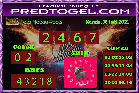 Pred Macau Kamis 08 juli 2021