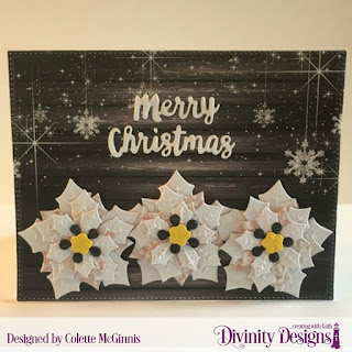 Custom Dies: Peaceful Poinsettia, Holiday Word  Paper Collection: Rustic Christmas