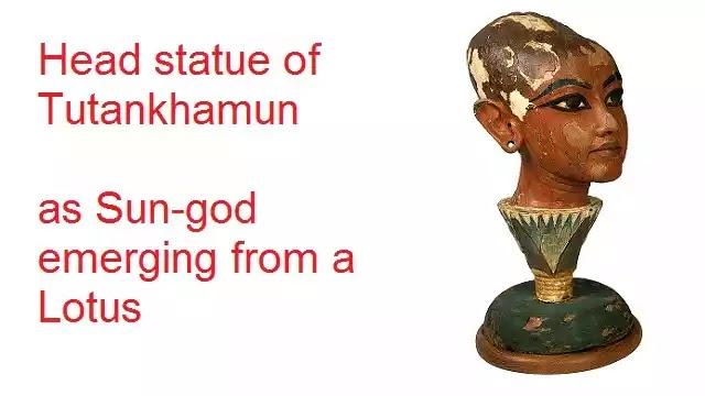 Tutankhamun statue emerging from a Lotus