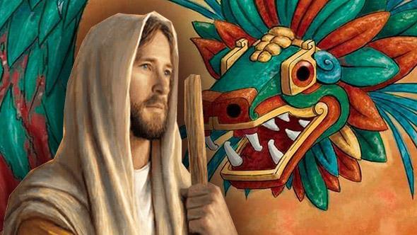 ilustración de Jesús al lado del dios maya Quetzacoatl