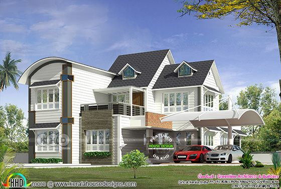 All style mixed roof modern home