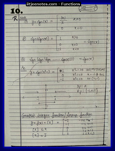 functions notes 10