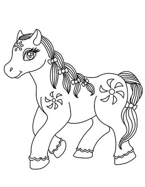 Gambar Mewarnai Kuda Poni