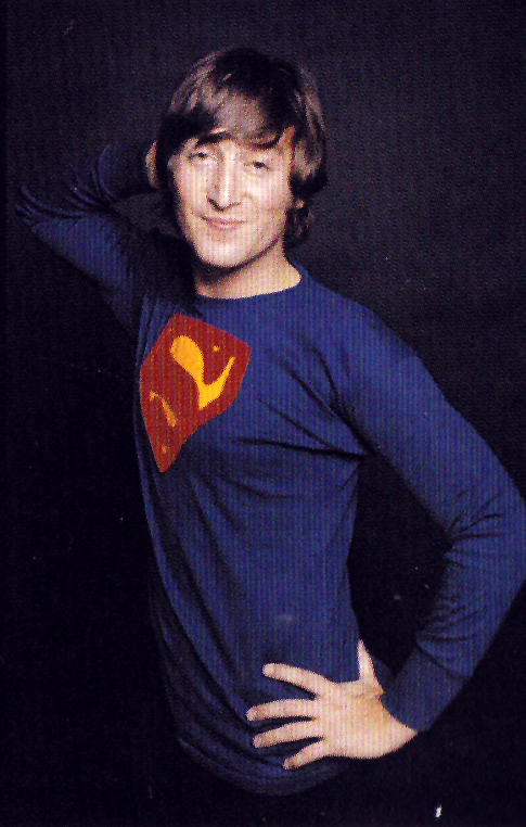 Funny Pictures Of John Lennon Wearing A Superman Shirt In