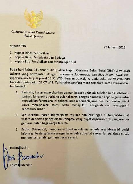Gubernur Anies Terbitkan Surat Edaran Soal Gerhana Bulan Total, Begini Isi Lengkapnya