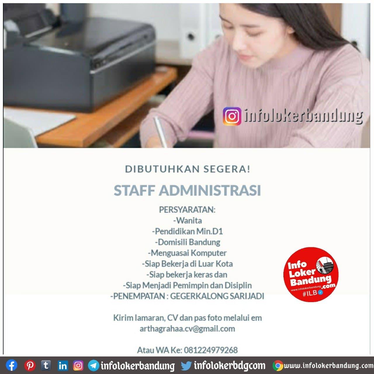 Lowongan Kerja Staff Administrasi CV. Arthagraha Januari 2021