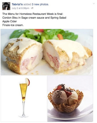 The menus included Chicken cordon bleu in sage cream sauce, spring salads, sparkling apple cider (served in the finest champagne flutes) and ice creams for dessert over three daily shifts.