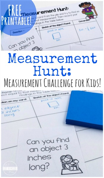 FREE Measurement Hunt Math Challenge for kids to learn about and practice measuring (hands on math, math practice, homeschool, 2nd grade, 3rd grade, 4th grade, 5th grade, 6th grade, 76th grade, 8th grade)