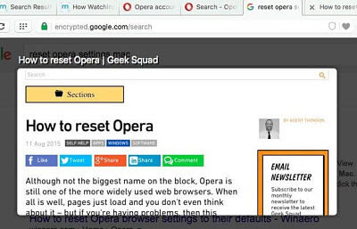Fitur Tab Preview pada Opera