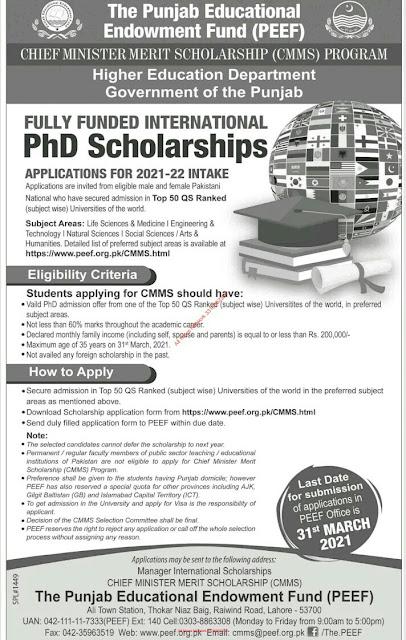 The Punjab Educational Endowment Fund-2020-21 (PEEF-2020-21)
