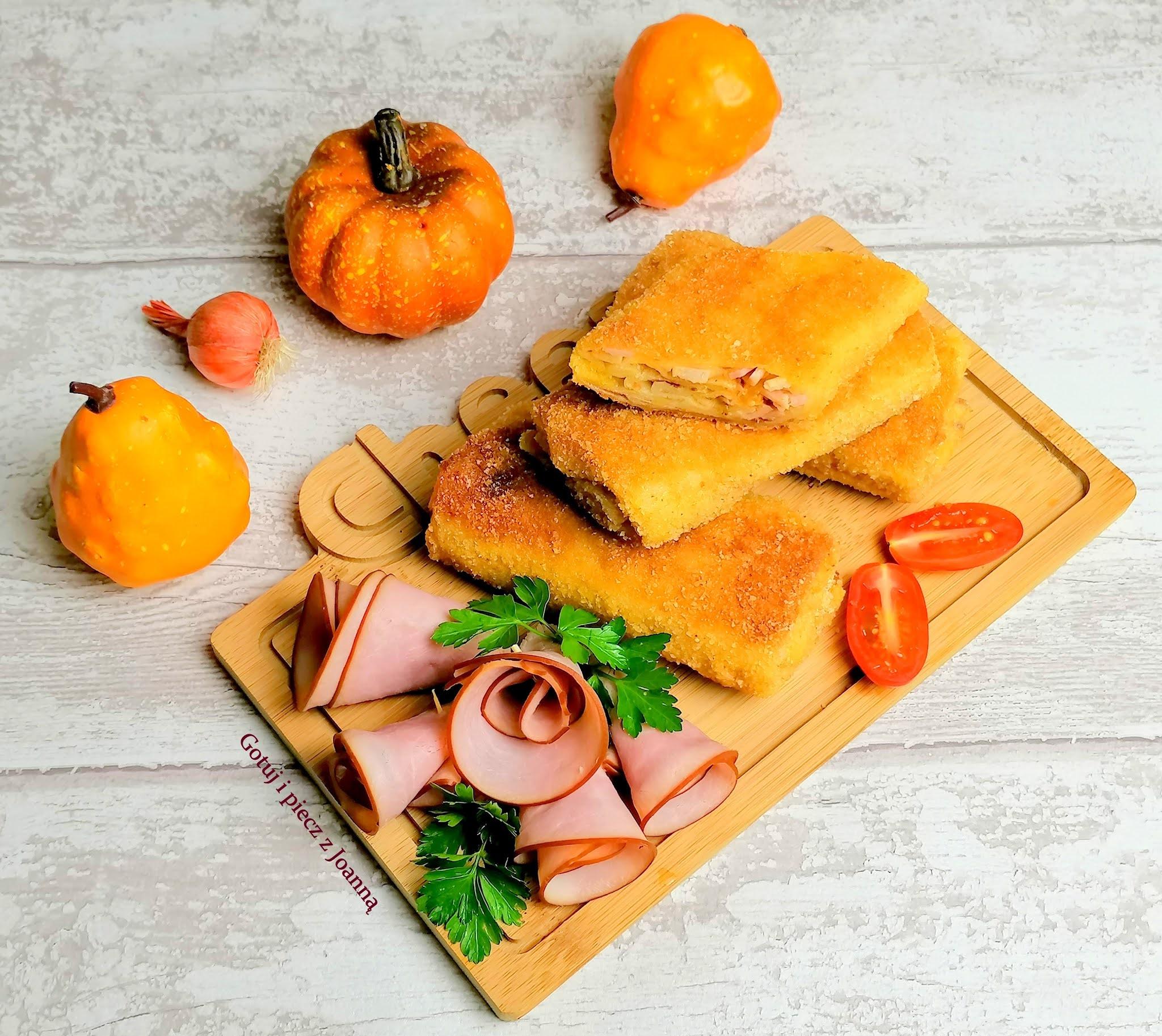 Krokiety z szynką z pieca, pieczarkami i serem.