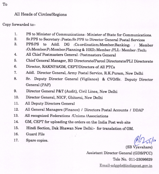 Payment of TRCA on Sundays or Holidays to GDS working against vacancies in Postman or Mail Guard or MTS Cadre.