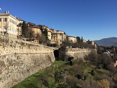 View of Bergamo Citta Alta walls from Via San'Alessandro