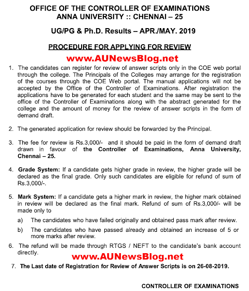 Anna University April May 2019 Time Table Exams Daily