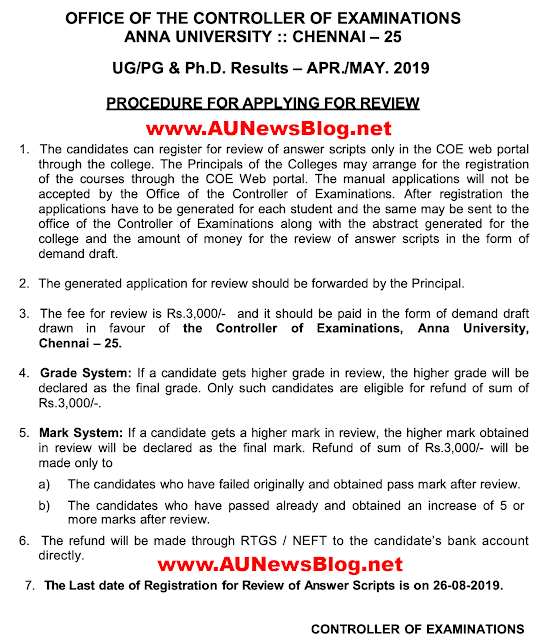 Anna University Review Procedure & Last Date for Apply