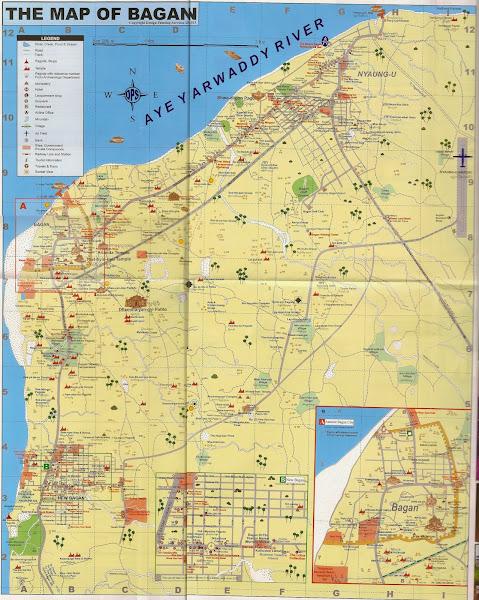 Mapa turistico de los templos y pagodas de Bagan