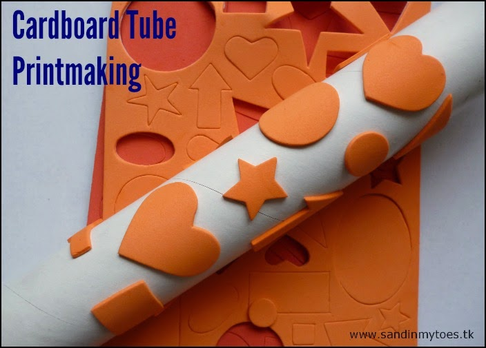 Printmaking activity for toddlers using a cardboard tube